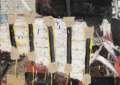 Rampart: fire-wind-earth No. 2 (2019)<br>oil and mixed media on canvas, 48 x 36 inches