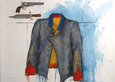 Rebel Tunic - Tools of the Trade (2014)<br>oil and dry pigment on paper, 42 x 44 inches