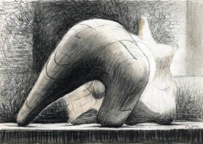 Reclining Figure (1973-76)<br>watercolor, charcoal, crayon, and pencil on paper, 7x10 inches