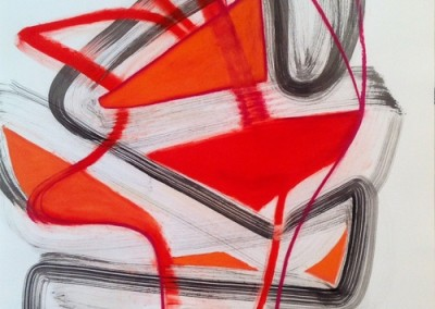 Red Orange (2015)<br>pastel ink on paper, 41.5 x 29.5 inches