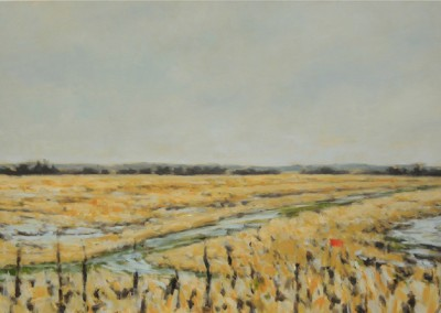 Red Sign and Field (2014)<br>oil on canvas, 24x36 inches