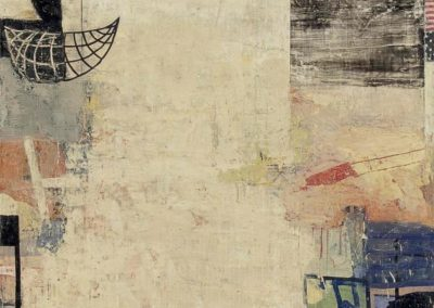 Reflection: arbitrary; necessity (2012)<br>oil and mixed media on canvas, 40 x 40 inches