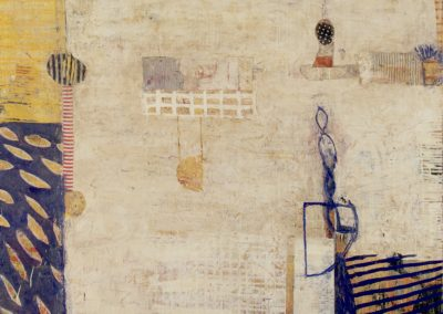 Revalued: system; response (2013)<br>oil and mixed media on canvas, 48 x 60 inches