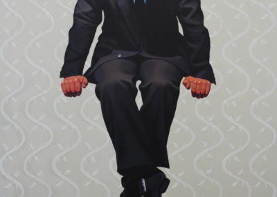 Seated Man Remembering (2017)<br>acrylic on canvas, 40 x 30 inches