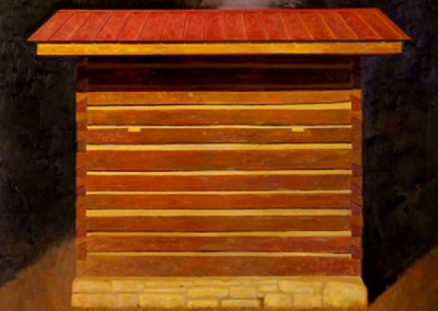 Smoke House (2012)<br>oil on canvas, 30x30 inches, SOLD