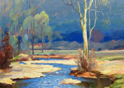 Spring Landscape (circa 1939)<br>oil on masonite, 26x20 inches, SOLD