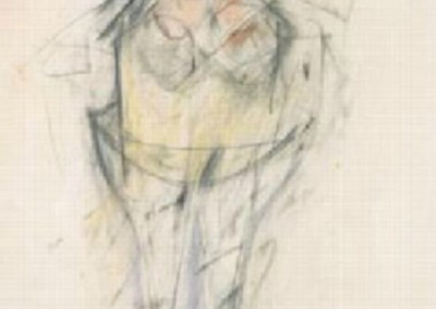 Standing Woman (1951)<br>mixed media on paper, 21.5x14.5 inches