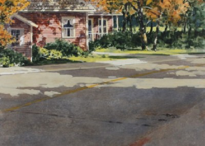 Street Scene (2014)<br>acrylic on panel, 16x20 inches