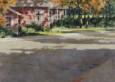 Street Scene (2014)<br>acrylic on panel, 16x20 inches