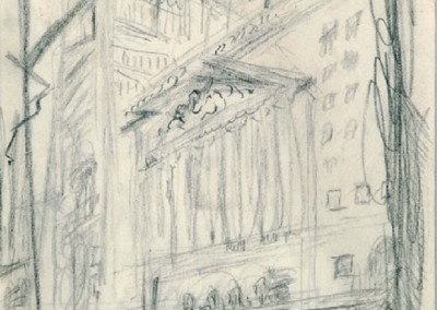 Stock Exchange NYC (c. 1924)<br>graphite on paper, 9.75x7.5 inches
