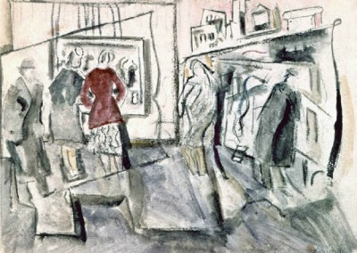 Street Movement (1936)<br>watercolor on paper, 17.5x23.5 inches