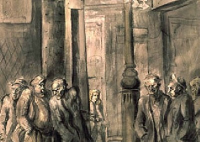 Strokey's Bar on the Bowrey - front side (1946)<br>ink and watercolor on paper, 40x27 inches