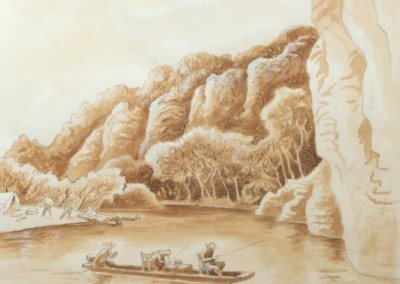 Study for Jon Boat (circa 1964)<br>watercolor, tempera, ink, and pencil on paper, 11x14 inches, SOLD