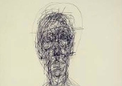 Study of a Head (circa 1960)<br>pen on paper, 20x14 inches