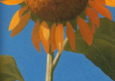 Sunflower in June (2005)<br>oil on canvas, 24x12 inches