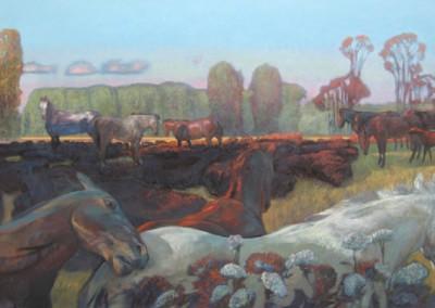 Sunset Heard (2008)<br>acrylic on canvas, 36x60 inches