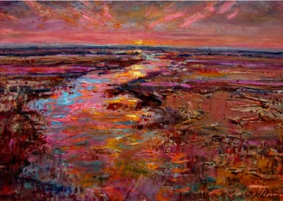 Sunset Over the Delta (2010)<br>oil on canvas, 24x36 inches