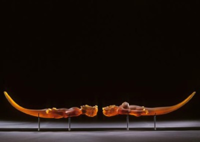 Suspended Figure, Amber Boat Form with Pedestal (2004)<br>glass, 13x68x7 inches