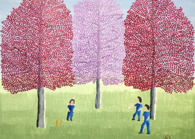 Children's Game (1973)<br>oil on canvas, 16 x 20 inches