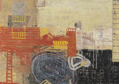 Tentative: underlying; spaces (2013)<br>oil and mixed media on canvas 60 x 72 inches