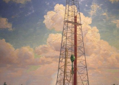 Texas Oil Derrick (1939)<br>oil on panel, 43x32 inches, SOLD