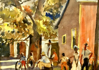 The Good Neighbor (1940)<br>watercolor on paper, 13.25x15.25 inches