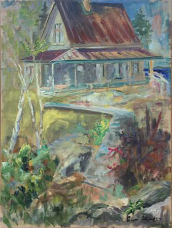 The House by Water<br>oil on linen, 18 x 14 inches