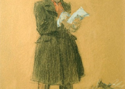 The Reporter - Self Portrait (c. 1903)<br>black chalk and pastel on tan paper, 10.25x8.5 inches, SOLD