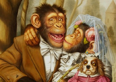 The Wedding of Jimmy and Naughty Betty (1996)<br>oil on canvas, 25x21 inches, SOLD