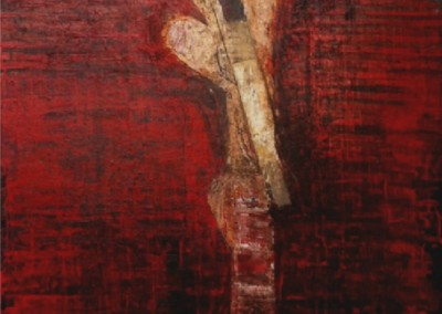 Thought: resistant; content (1995)<br>mixed media on board, 50x38 inches