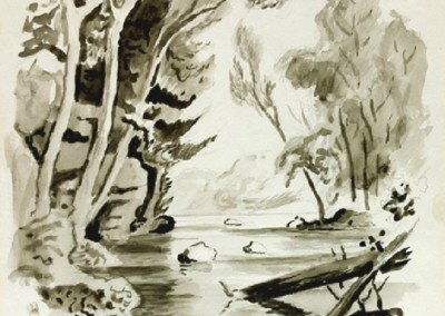Three Trees Before Bluff Near Water (1967)<br>ink wash and graphite on paper, 13.75x10.75 inches. Note: Thomas Hart Benton, An Artist in America (Revised Edition, 1951) Illustrated, SOLD
