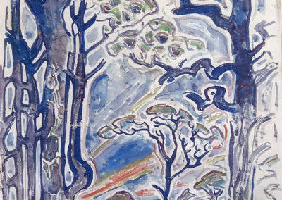 Trees at Horn Island (c. 1955)<br>watercolor on paper, 11 x 8.5 inches