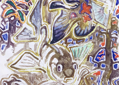 Tropical Fish (c. 1960)<br>watercolor on paper, 11 x 8.5 inches