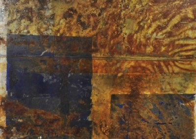 767 Two Blue Ones (2015)<br>acrylic, rust and charcoal on canvas, 36x48 inches