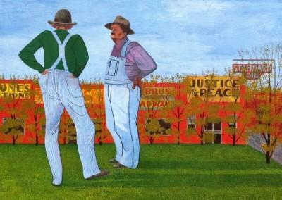 Two Farmers (1953)<br>casein tempera, 20 x 26 inches