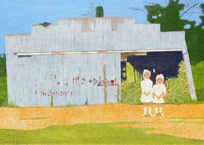 Two Girls in Bonnets (1992)<br>acrylic on panel, 22x34 inches