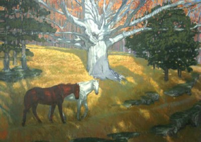 Two Horses (2011)<br>oil on canvas, 48x60 inches, SOLD