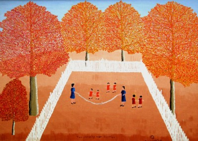 Two Jumping Rope Together (1968)<br>oil on canvas, 24x36 inches, SOLD