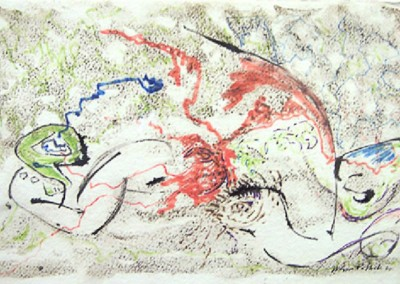 Untitled (1944)<br>Black and Red Ink and Crayon, 9.5x15.25 inches