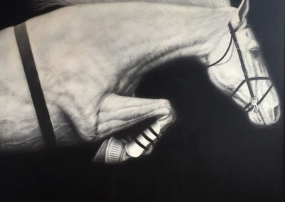Untitled (Equestrian piece)<br>graphite on canvas, 48 x 60 inches