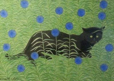 Vesta and the Cornflowers (1970)<br>acrylic on masonite, 11.5x17 inches