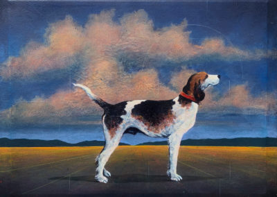 Walker Hound and Allegory<br>oil and polymer paint on canvas, 27 x 35 inches