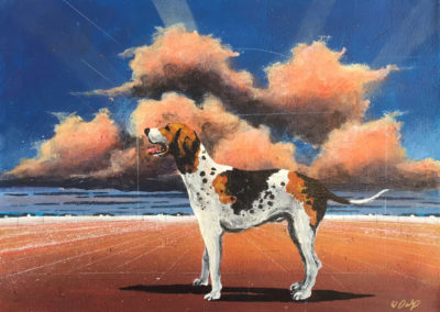 Walker Hound and Landscape (2018)<br>polymer paint on canvas, 19 x 26 inches
