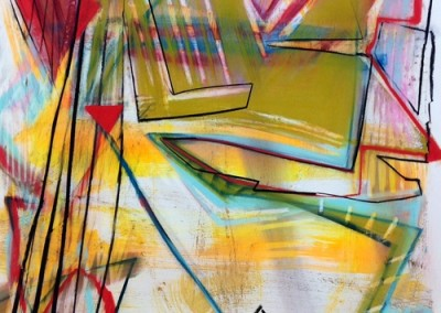 Warm Cool City (2015)<br>pastel, ink on paper, 41 x 29 inches
