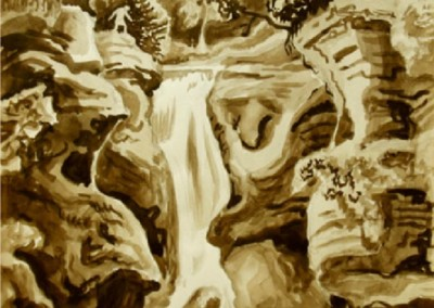 Waterfall with Figures (circa 1940)<br>graphite and sepia watercolor, 16 x 11 inches