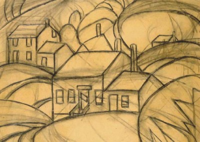 West Virginia Hills (1919)<br>charcoal on paper, 11x12 inches