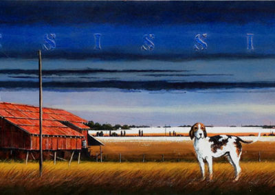 Red Gin & Walker Hound (2012)<br>polymer paint on panel, 24 x 80 inches
