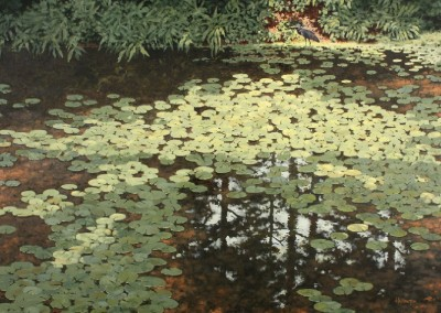 Blue Heron and Lilly Pads (2015)<br>acrylic on canvas, 48 x 64 inches, SOLD