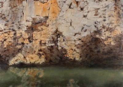 Buffalo River Textures (2015)<br>acrylic on canvas, 48x48 inches