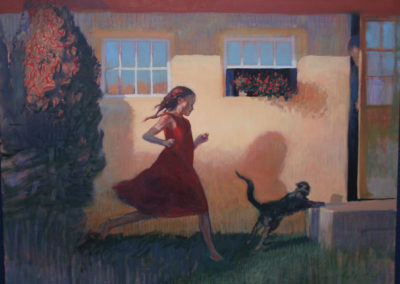 Chasing Her Cat (2014)<br>oil on canvas, 30 x 40 inches